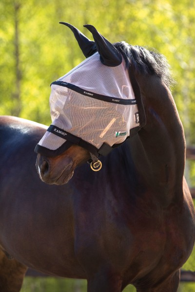 Fliegenmaske Rambo Plus Flymask Oatmeal, Black
