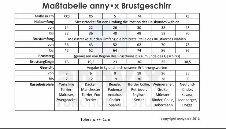 Masstabelle-Brustgeschirr